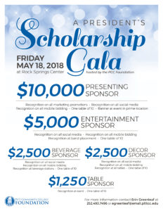 List of President's Scholarship Gala sponsorship opportunities.