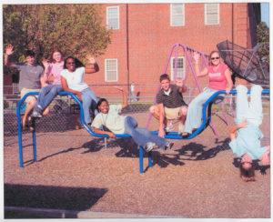 student ambassadors on a playground