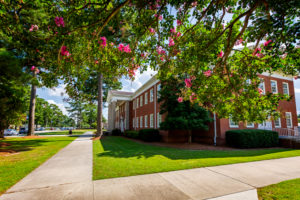 Crape Myrtles in bloom outside of the Robert Lee Humber Building on PCC's main campus in Winterville.