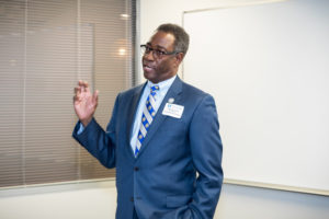 PCC President Lawrence Rouse speaks to college supporters attending a 'meet and greet' event at the PCC Farmville Center.