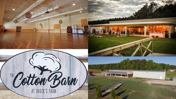 Collage of Cotton Barn photos.