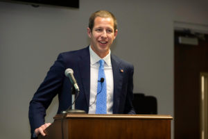Greenville Mayor P.J. Connelly smiles as he speaks with PCC employees at their bimonthly College Council meeting.