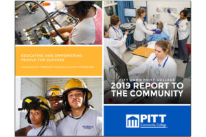 2019 PCC Annual Report to the Community cover with students from various curricula training.