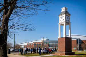PCC employees and supporters gathered on campus Thursday morning to dedicate the college's Edward and Joan Warren Clock Tower. The 35-foot tower was purchased through funding from the Warren Estate as a gift to the PCC Foundation. Ed Warren, a former state senator and PCC employee, and his wife, Joan, a former PCC trustee, were longtime supporters of the college before passing away in 2003 and 2002, respectively.