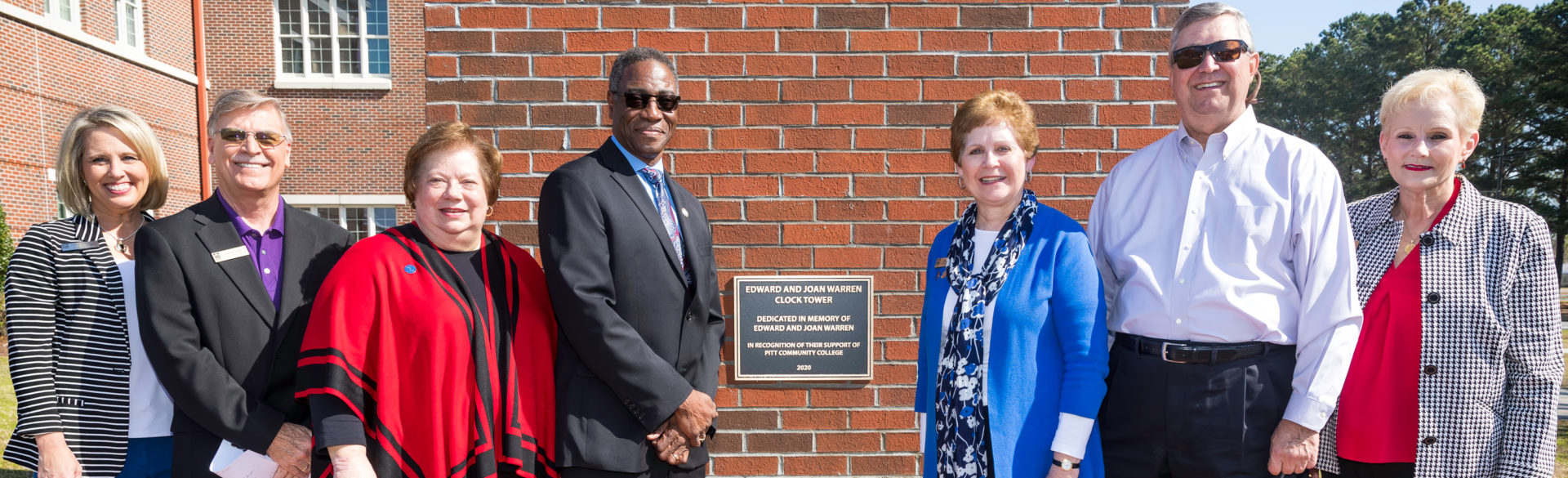 PCC dedicated the Ed & Joan Warren Clock Tower in 2020 with supporters, PCC Foundation officials and college administrators, past and present, on hand for the ceremony.