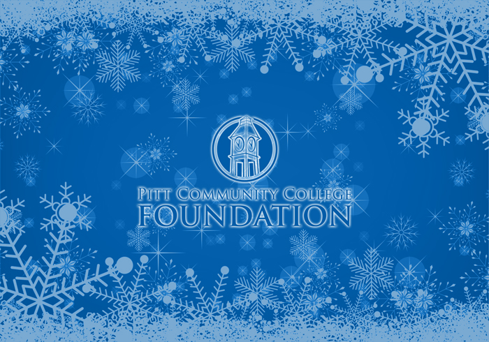 PCC Foundation logo set against blue background and surrounded by snowflakes.