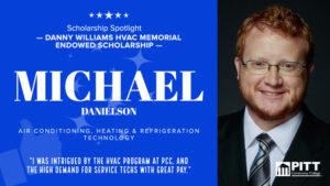 Informational graphic on HVAC scholarship student Michael Danielson.