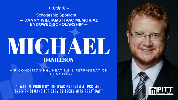 Informational graphic on HVAC scholarship student Michael Danielson.