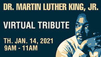 Graphic of Martin Luther King to publicize 2021 MLK Scholarship Breakfast event.