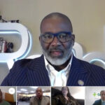 Garrett Taylor, owner/founder of Uplift Comprehensive Services in Greenville and The Power of U non-profit organization, speaks during PCC's virtual MLK tribute as Cheri White, Dr. Garrie Moore, Jessica Schroeder and Greenville Mayor PJ Connelly, left to right, listen in from their respective locations.