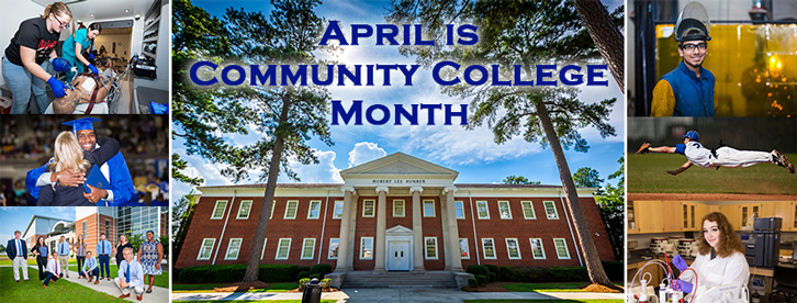 Collage of student, campus and program photos highlighting Community College Month.