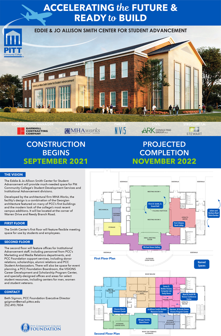 Graphic depicting future Eddie Smith Center for Student Advancement from the outside, along with floor plans and a description of the building's features.